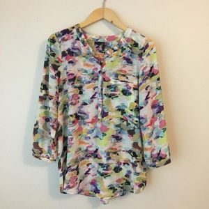 NYDJ Colorful Henley 3/4 Sleeve Blouse